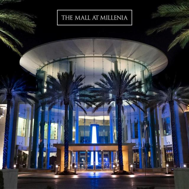 Exterior of the Mall at Millenia at night cropped for Zoom background