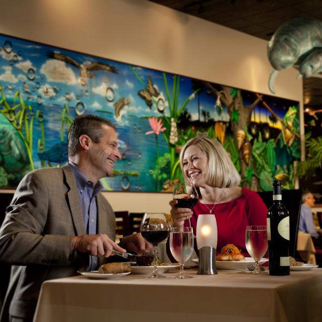 Rosen Centre Hotel ballroom couple dining at hotel restaurant
