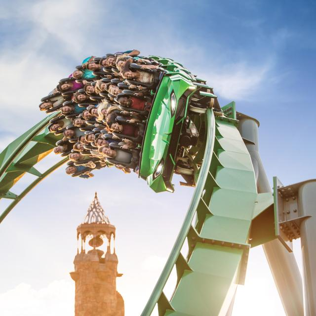 Guests exit a loop on The Incredible Hulk Coaster at Universal's Islands of Adventure