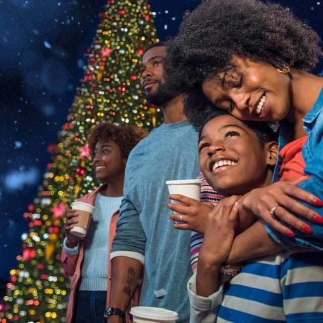 A family in front of a Christmas tree at Universal Orlando Resort