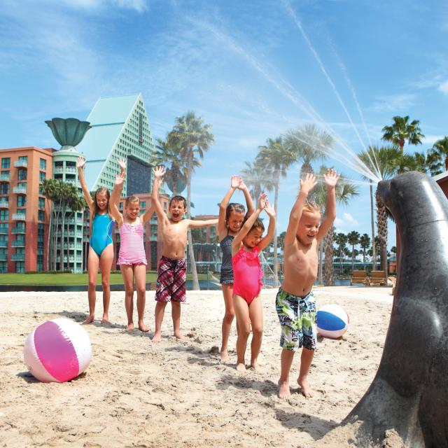 Kids playing on the beach at the Walt Disney World Swan and Dolphin Resort