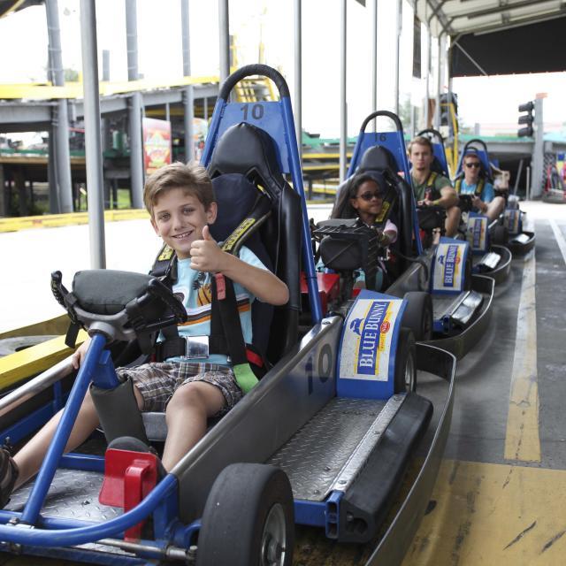Fun Spot America Orlando kid on a go kart