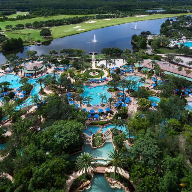 JW Marriott Orlando, Grande Lakes overview of pools, lake and golf
