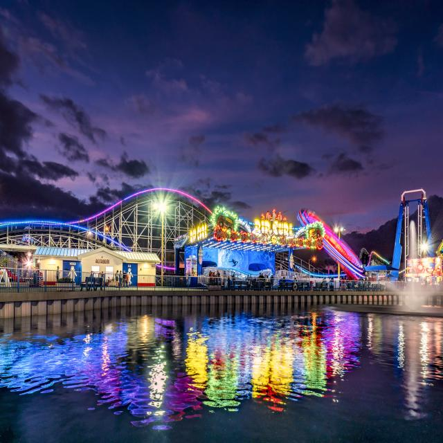View of rides including Rip Curl at Fun Spot America Theme Parks Orlando