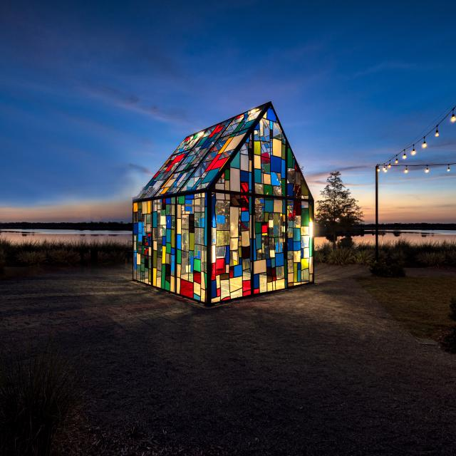 Tom Fruin's Glass House art installation in Lake Nona