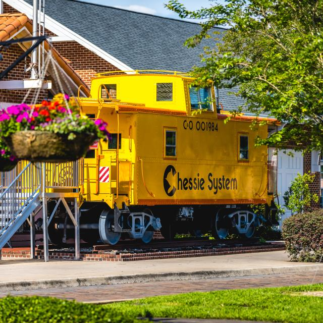 A train car displayed outside of Winter Garden Heritage Museum in downtown Winter Garden.