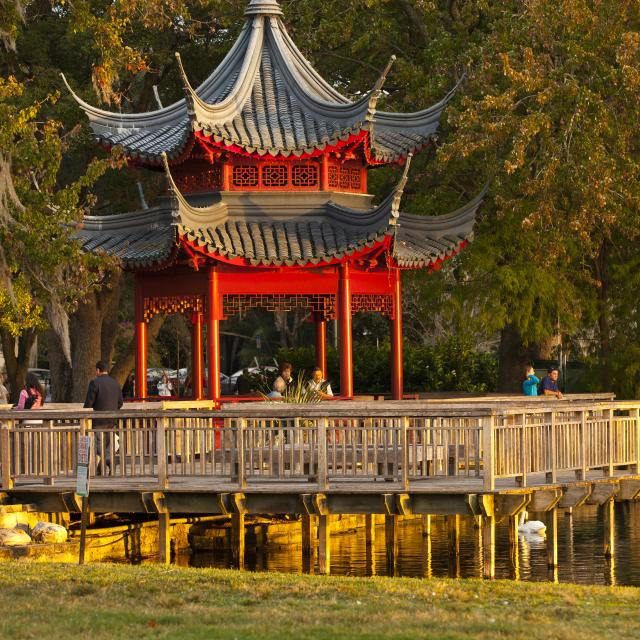 Chinese gazebo on Lake Eola in downtown Orlando