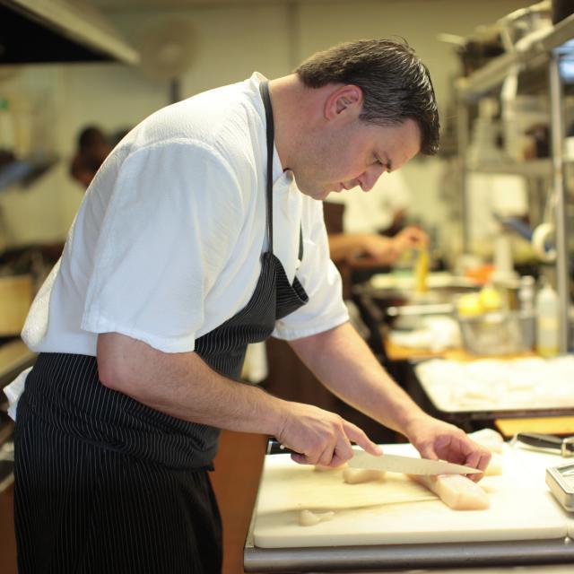 Chef James Petrakis of The Ravenous Pig restaurant