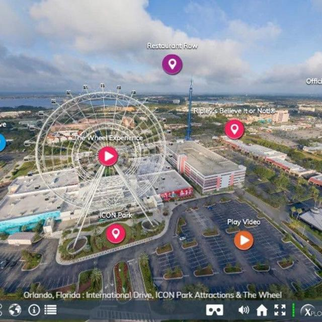 Screenshot of aerial shot of ICON Park from the Orlando Virtual Tour