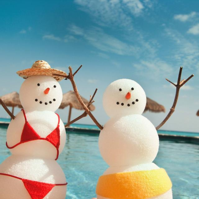horizontal, snowman, pool, beach, water, bikini, hat, red, yellow, blue, blue sky, clouds, holiday, winter, summer