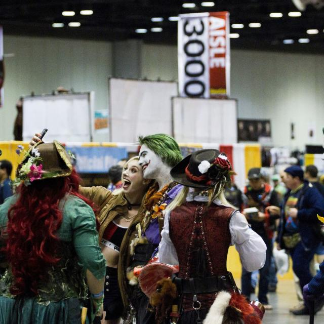 A group of people dressed up as characters at MegaCon