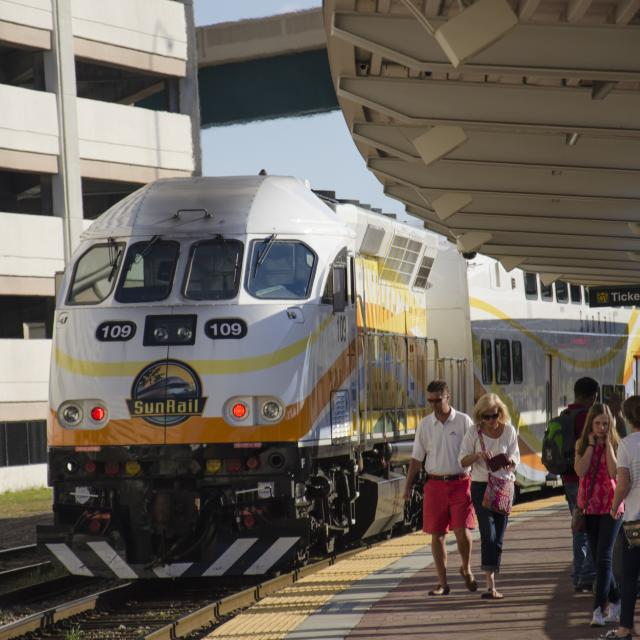Sunrail train arrives at the station