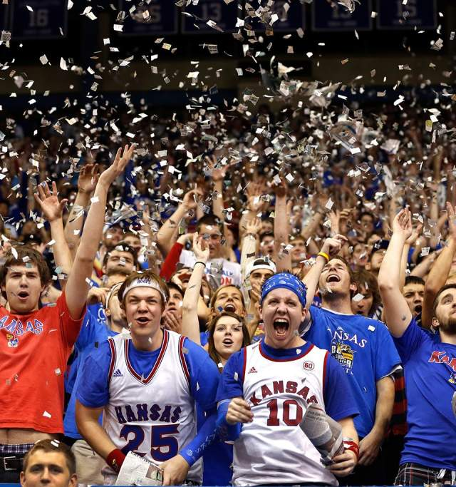 Basketball fans in Allen Fieldhouse