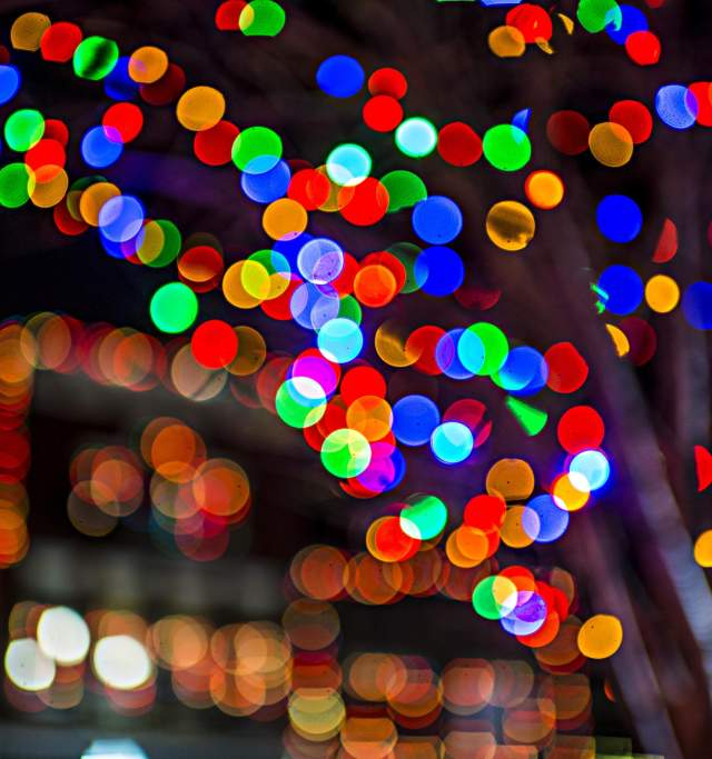 Holiday lights in Downtown Lawrence