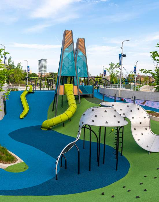 Howard Park playground with DTSB buildings in the background