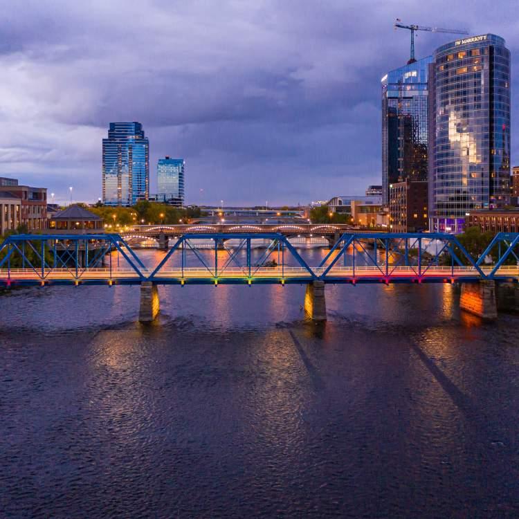 Grand Rapids Skyline at Dusk with Blue Bridge