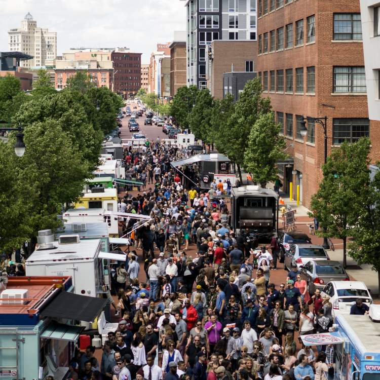 Food Truck Rally event in downtown Grand Rapids.