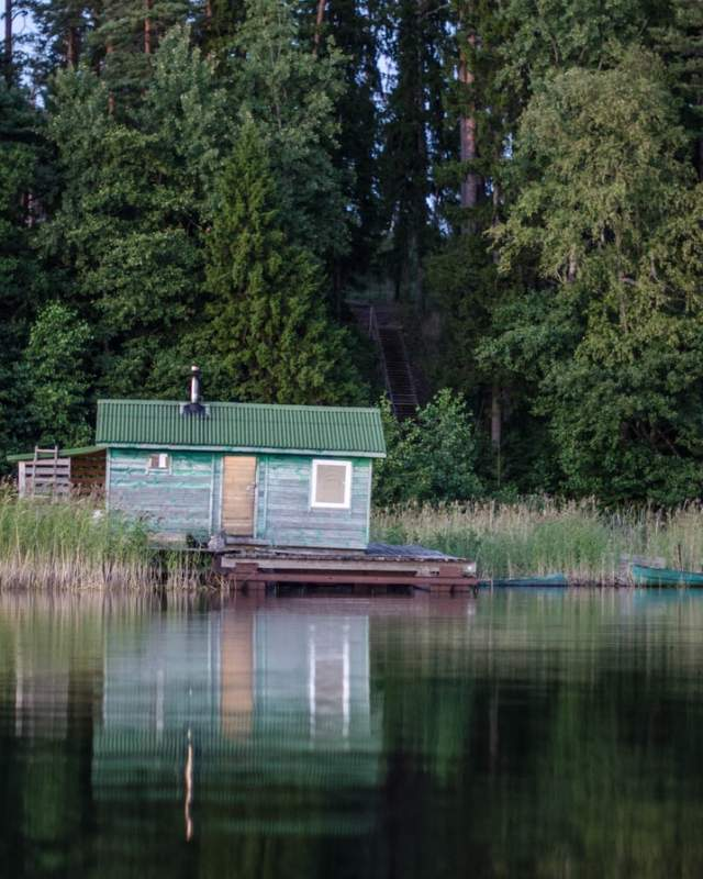 A lone cabin on a lake