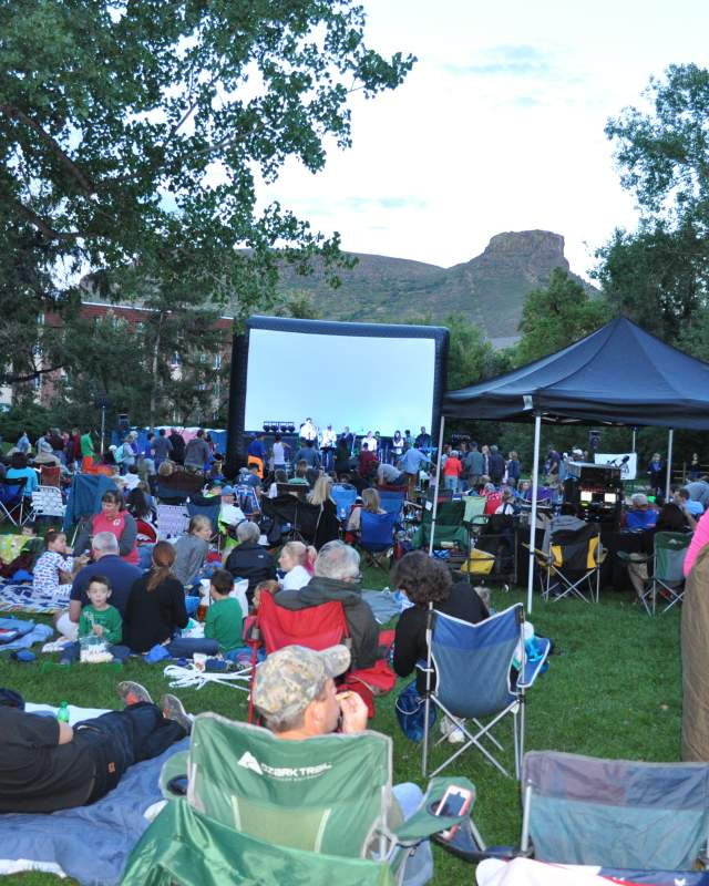 Movie and Music lovers prepare for an August evening in Parfet Park, Golden Colorado