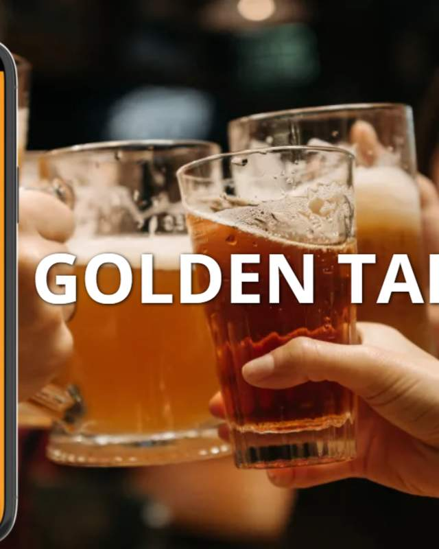 Golden Tap Trail Mobile App on a smartphone with a group cheers in the background