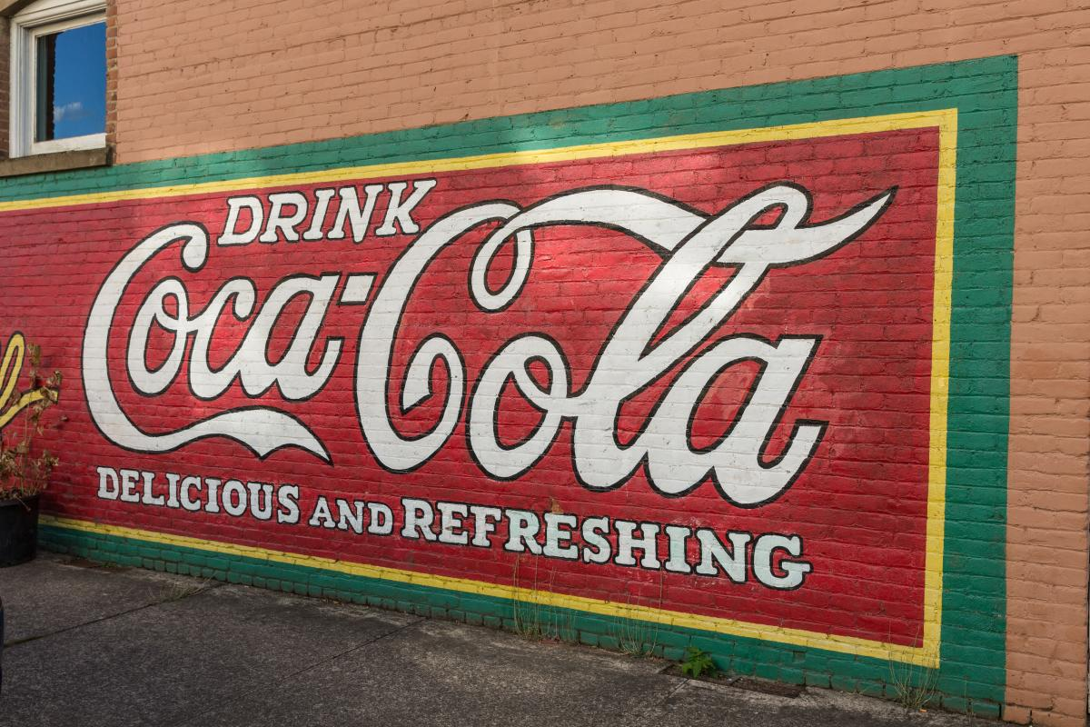 """""""Drink Coca Cola Delicious and Refreshing"""" Mural"""