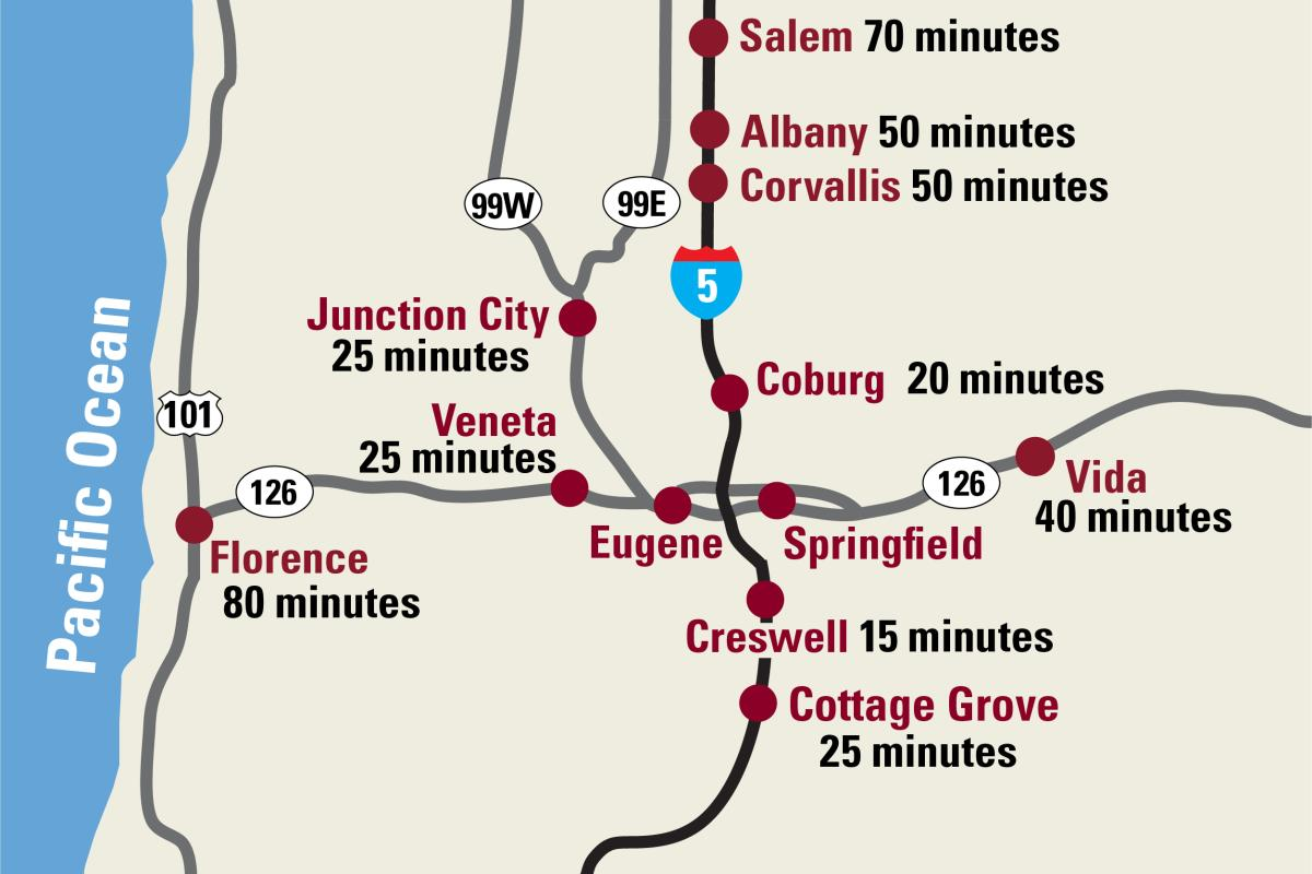 Drive times map