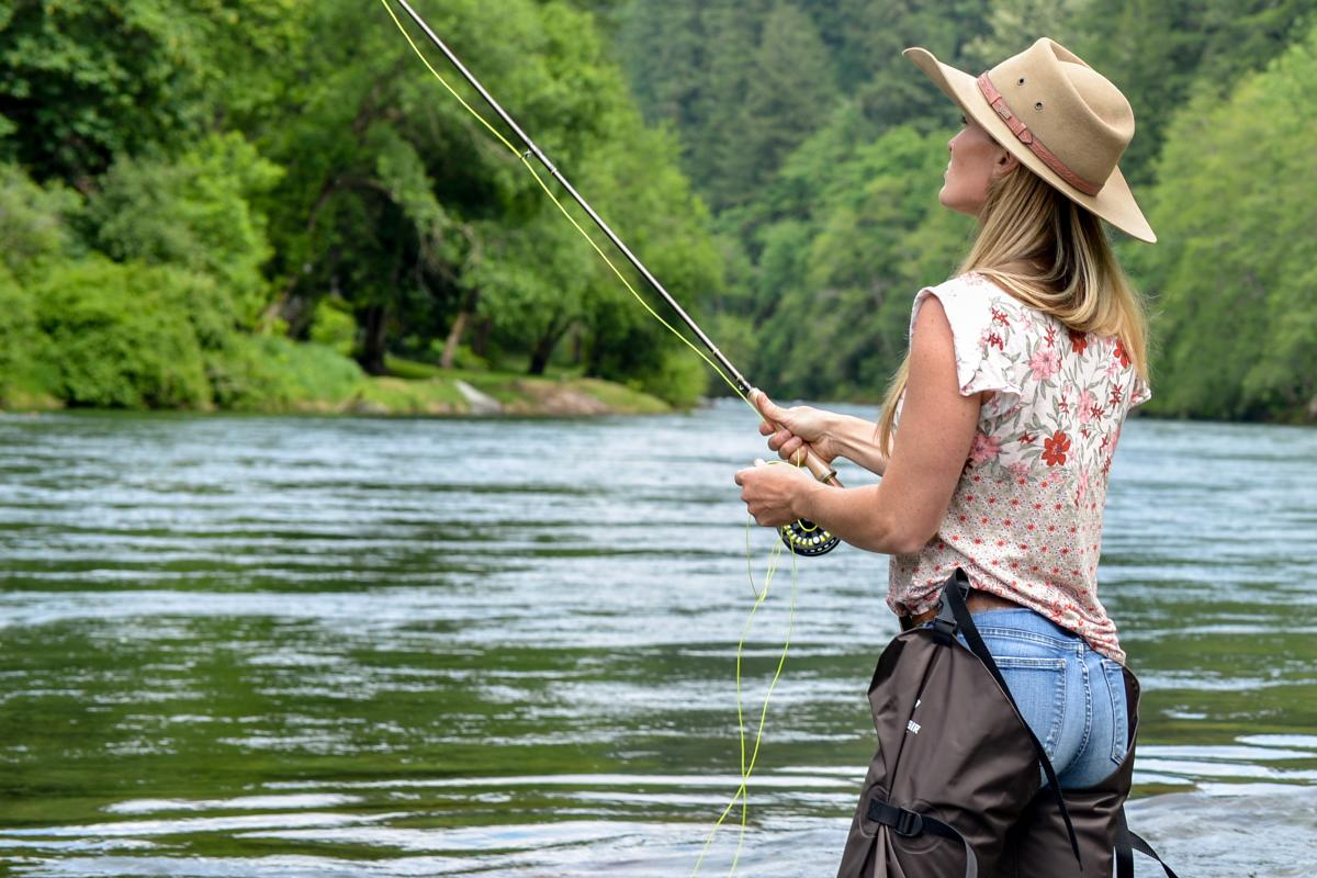 Woman Fly Fishing on the McKenzie River