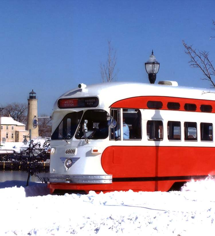 a Kenosha Electric Streetcar in winter