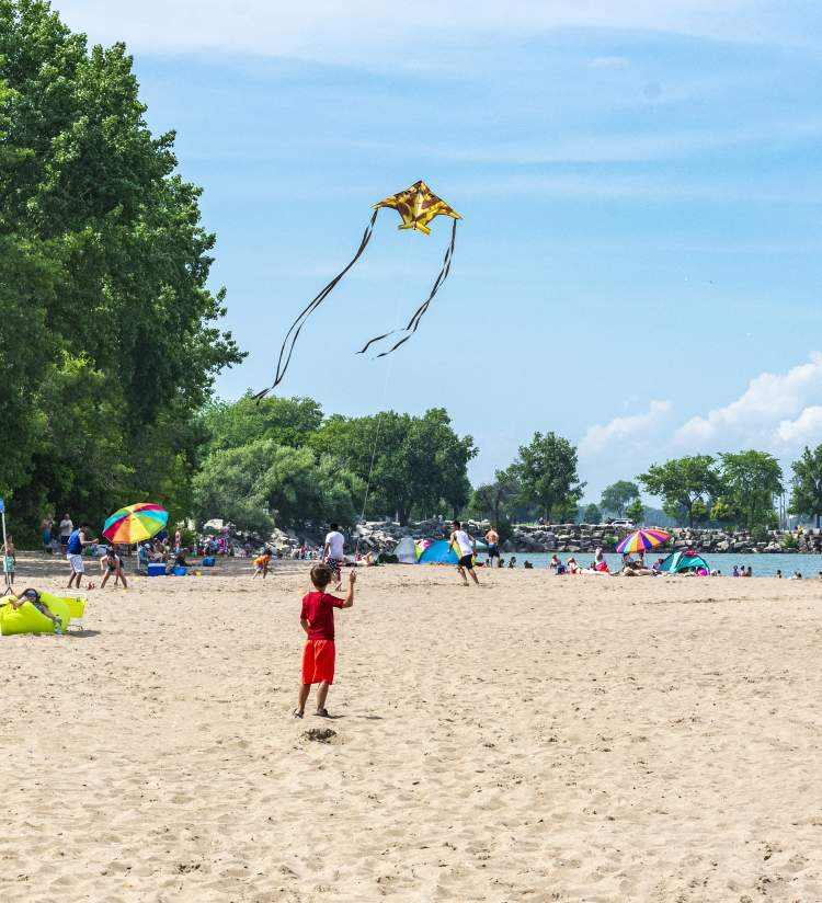 Flying kites at Simmons Island Beach