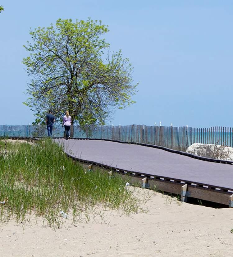strolling on the Simmons Island Beach boardwalk