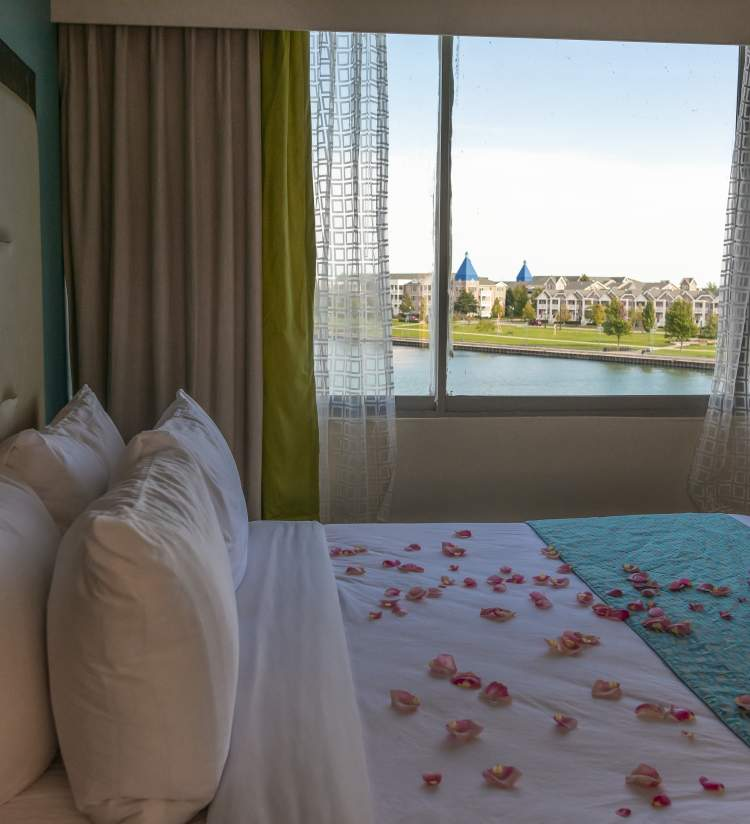 Wyndham room with a harbor view