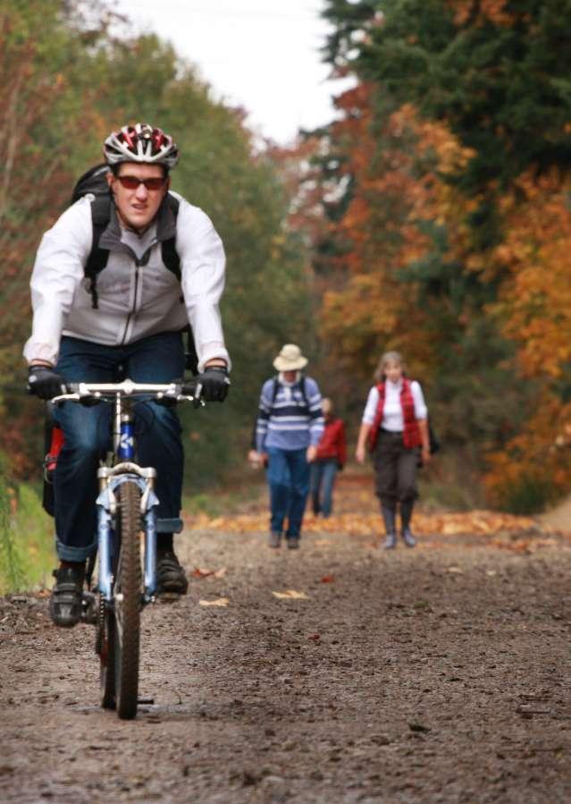 Mountain bike riding on trail