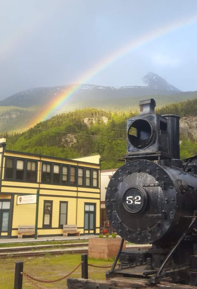 Train Engine and double rainbow