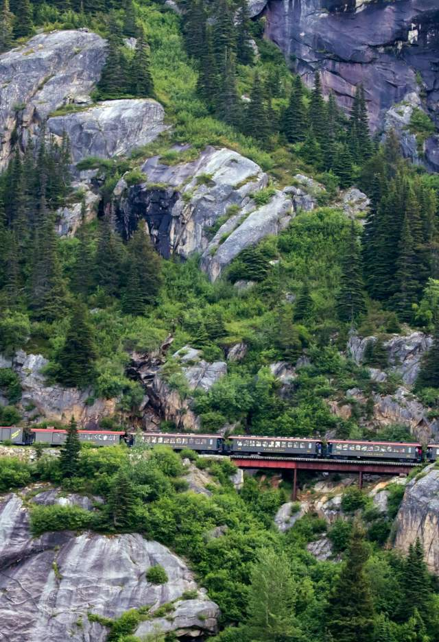 Train on mountainside
