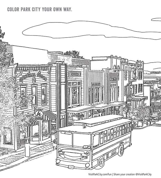 Preview of coloring page of Historic Main Street with Trolley in Park City Utah