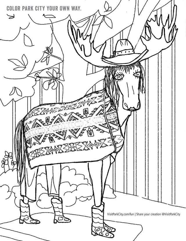 Preview of coloring page of public art moose in Park City Utah