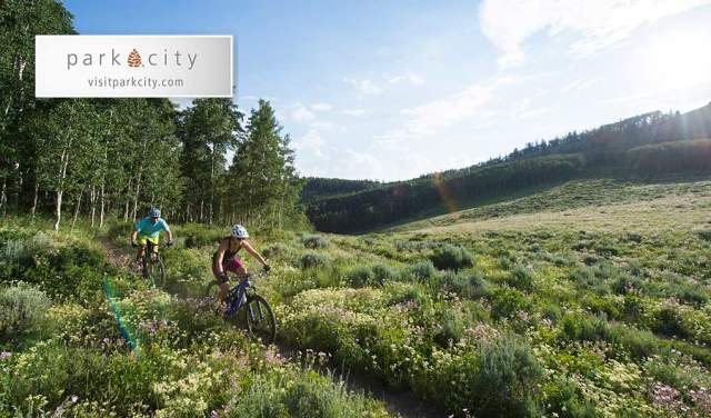 Couple Mountain Biking in Park City in the Summer