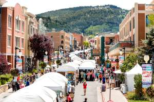 Main Street Park City with artists' booths during the annual Kimball Arts Festival