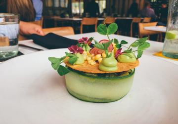 Meal on a table at Xochi Restaurant in Houston's Marriott Marquis