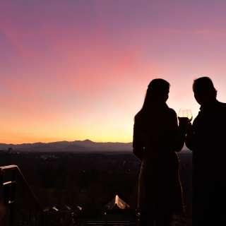 Couple at Sunset Terrace at the Omni Grove Park Inn