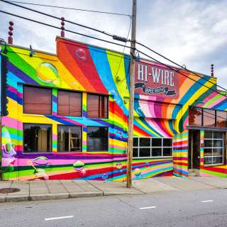 Building Facade for Hi Wire Brewing, in Downtown Asheville, NC