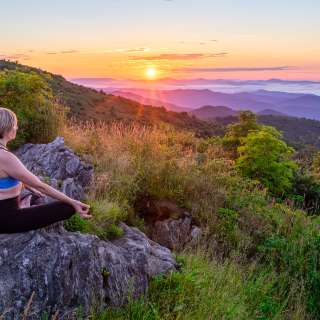 Greeting the day with yoga in the Blue Ridge Mountains