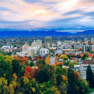 Downtown Asheville Skyline in Autumn
