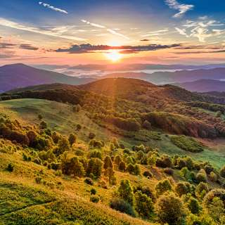 A beautiful summer sunset view at Max Patch near Asheville, NC