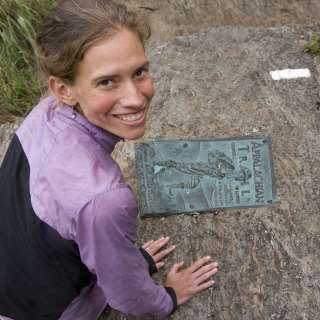 Jennifer Pharr Davis with Appalachian Trail marker