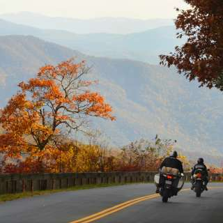 Motorcycle on the Blue Ridge Parkway in Fall