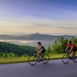 Women Cycling Along the Blue Ridge Parkway