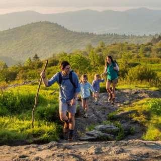 Family hiking Black Balsam