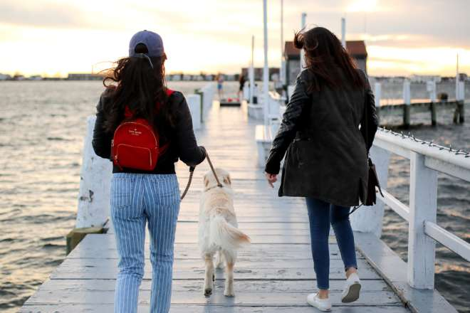 Two Woman Walking A Dog Down Bowen's Wharf In Newport, RI