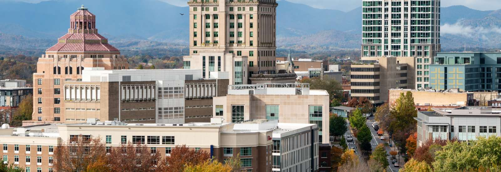 Dowtown Asheville with late fall color